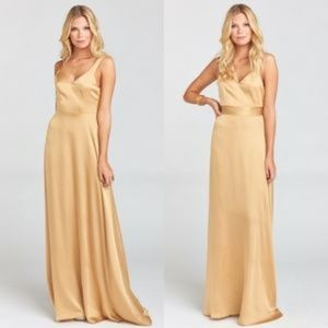 Show Me Your Mumu True Gold Satin Maxi Dress